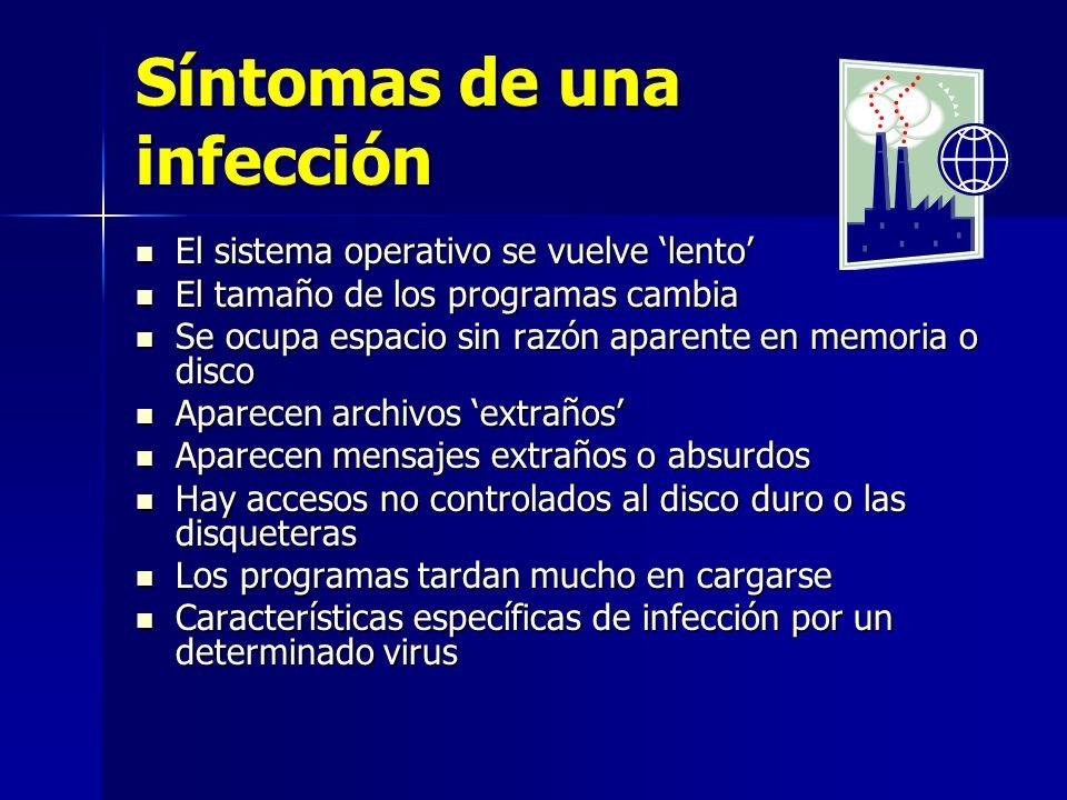 Síntomas de una infección El sistema operativo se vuelve lento El sistema operativo se vuelve lento El tamaño de los programas cambia El tamaño de los