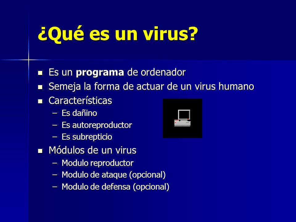 ¿Qué es un virus? Es un programa de ordenador Es un programa de ordenador Semeja la forma de actuar de un virus humano Semeja la forma de actuar de un