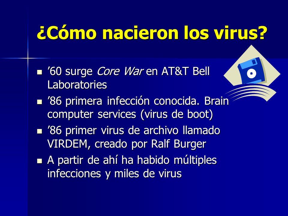 ¿Cómo nacieron los virus? 60 surge Core War en AT&T Bell Laboratories 60 surge Core War en AT&T Bell Laboratories 86 primera infección conocida. Brain