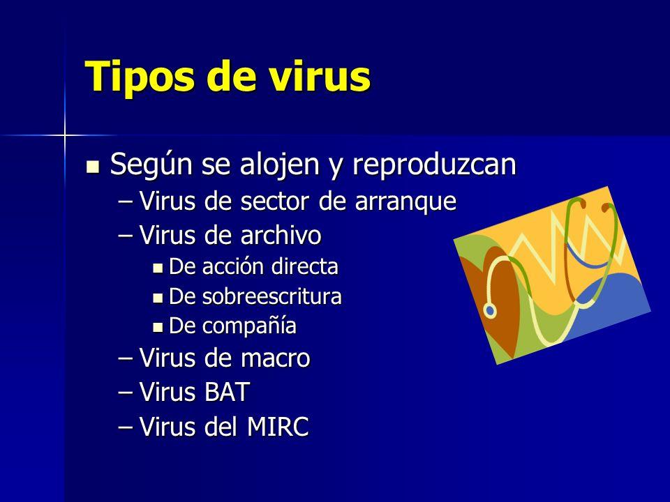 Tipos de virus Según se alojen y reproduzcan Según se alojen y reproduzcan –Virus de sector de arranque –Virus de archivo De acción directa De acción