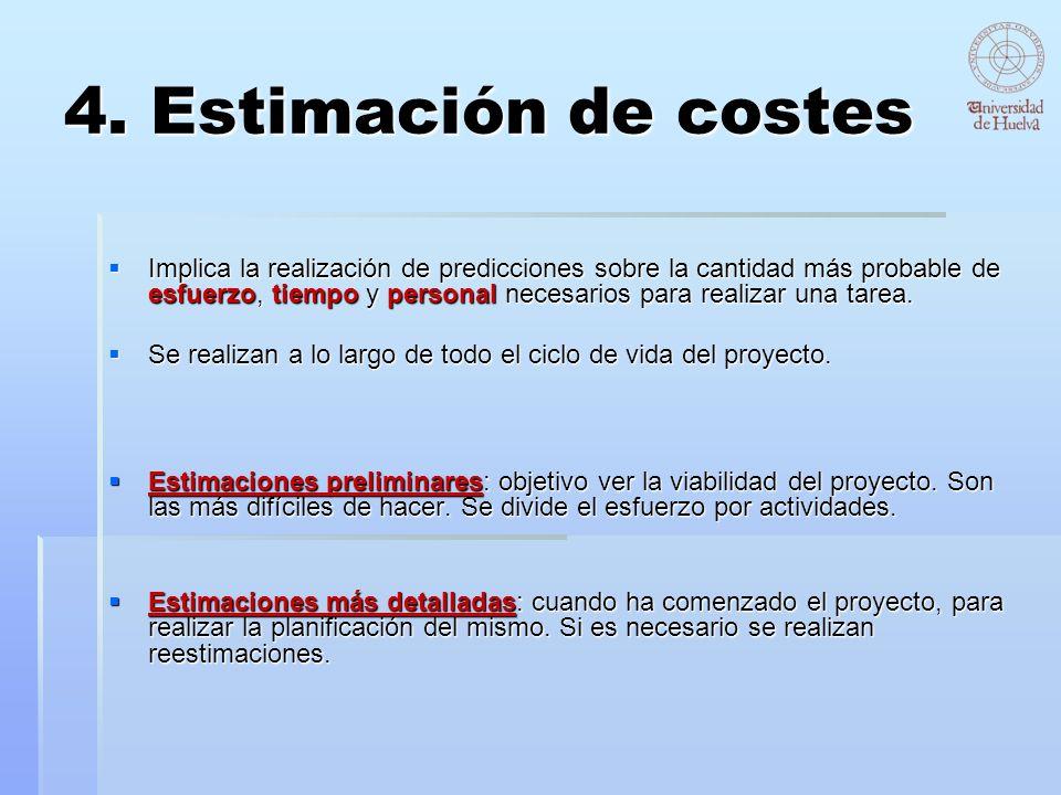 4. Estimación de costes Implica la realización de predicciones sobre la cantidad más probable de esfuerzo, tiempo y personal necesarios para realizar