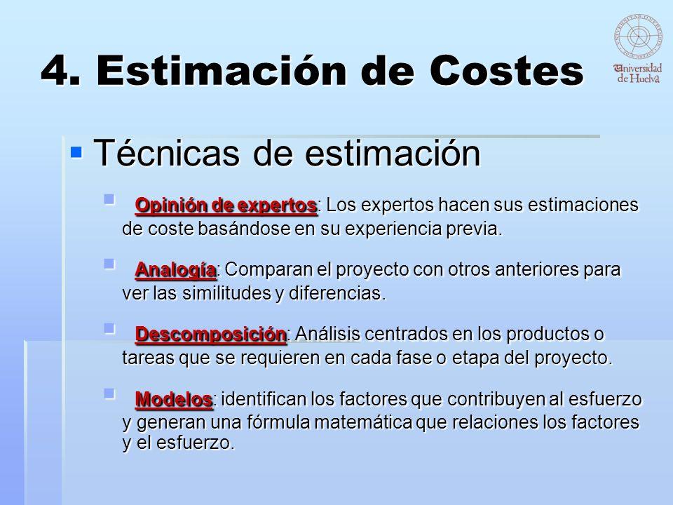 4. Estimación de Costes Técnicas de estimación Técnicas de estimación Opinión de expertos: Los expertos hacen sus estimaciones de coste basándose en s