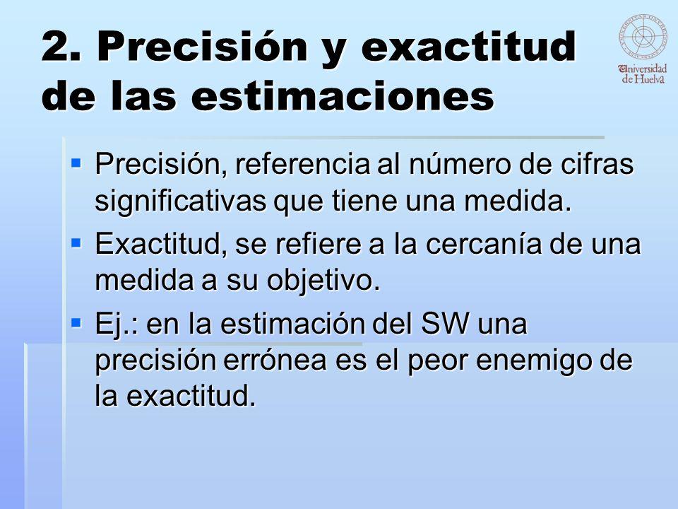 2. Precisión y exactitud de las estimaciones Precisión, referencia al número de cifras significativas que tiene una medida. Precisión, referencia al n