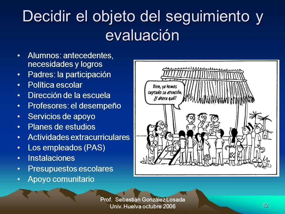 12 Prof. Sebastián González Losada Univ. Huelva octubre 2006 Decidir el objeto del seguimiento y evaluación Alumnos: antecedentes, necesidades y logro