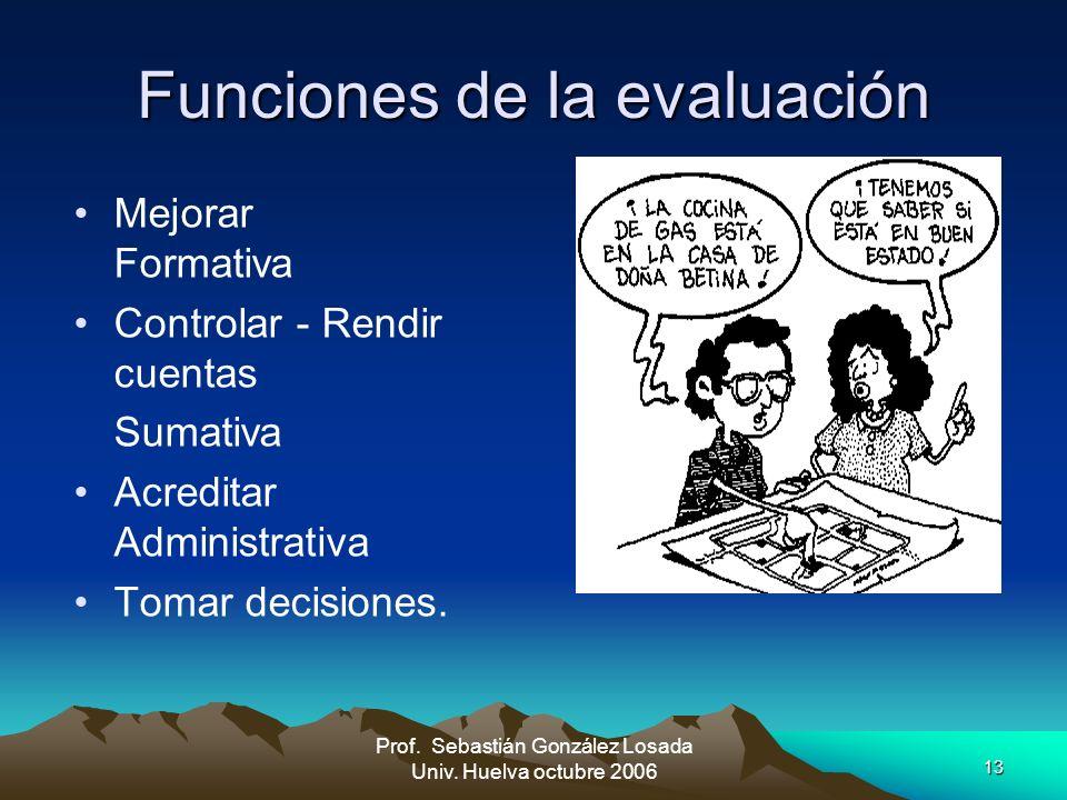 13 Prof. Sebastián González Losada Univ. Huelva octubre 2006 Funciones de la evaluación Mejorar Formativa Controlar - Rendir cuentas Sumativa Acredita
