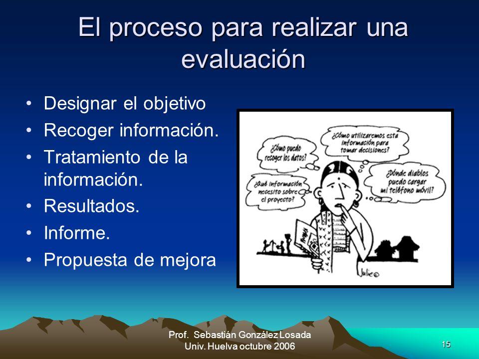 15 Prof. Sebastián González Losada Univ. Huelva octubre 2006 El proceso para realizar una evaluación Designar el objetivo Recoger información. Tratami