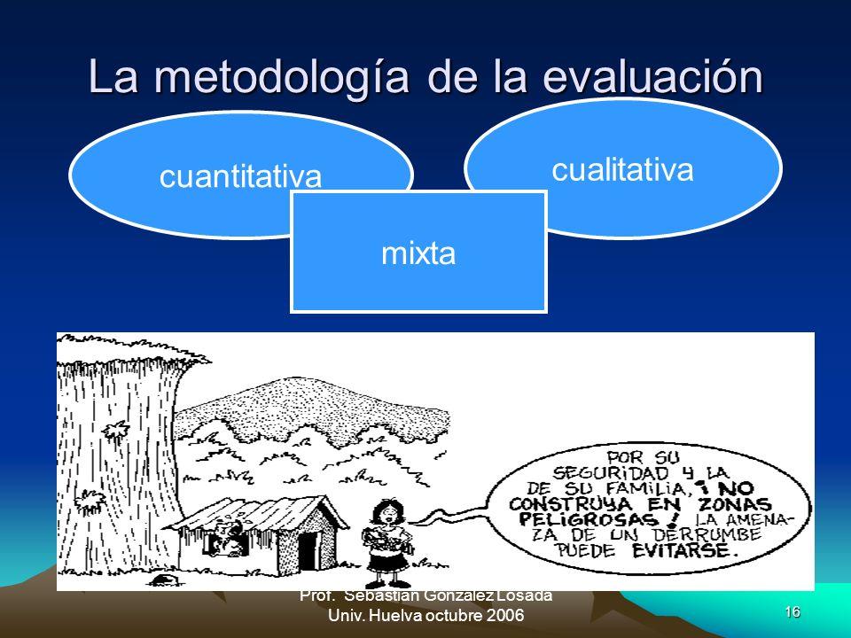 16 Prof. Sebastián González Losada Univ. Huelva octubre 2006 La metodología de la evaluación cuantitativa cualitativa mixta