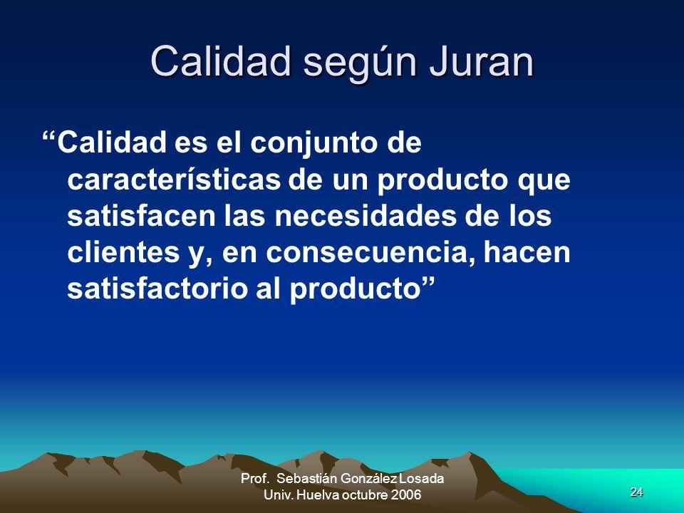24 Prof. Sebastián González Losada Univ. Huelva octubre 2006 Calidad según Juran Calidad es el conjunto de características de un producto que satisfac