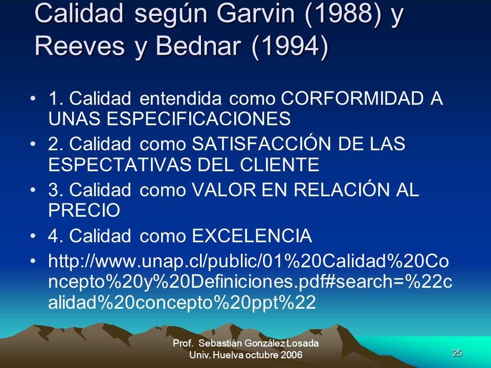 25 Prof. Sebastián González Losada Univ. Huelva octubre 2006 Calidad según Garvin (1988) y Reeves y Bednar (1994) 1. Calidad entendida como CORFORMIDA