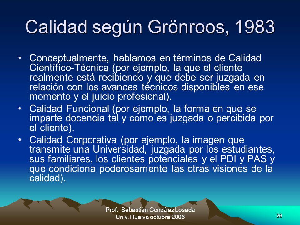 26 Prof. Sebastián González Losada Univ. Huelva octubre 2006 Calidad según Grönroos, 1983 Conceptualmente, hablamos en términos de Calidad Científico-