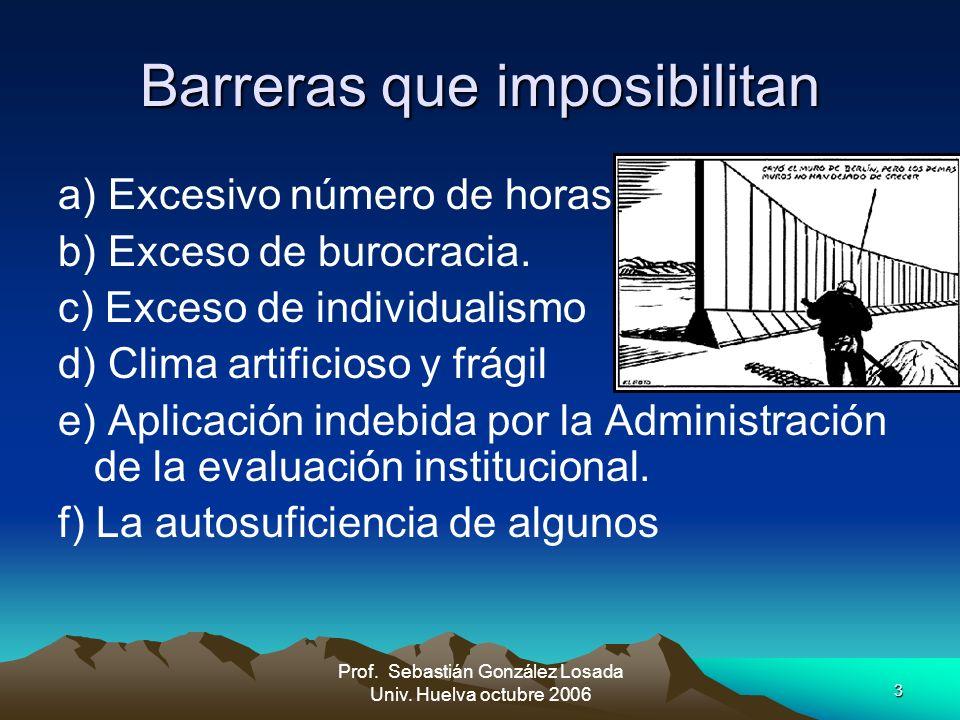 3 Prof. Sebastián González Losada Univ. Huelva octubre 2006 Barreras que imposibilitan a) Excesivo número de horas. b) Exceso de burocracia. c) Exceso