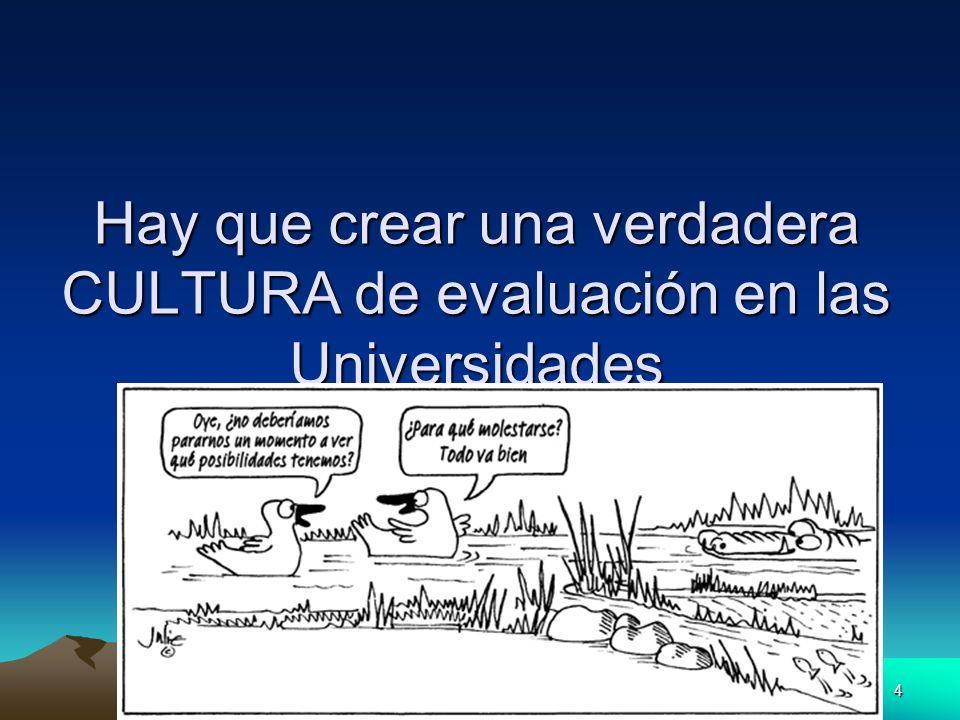 4 Prof. Sebastián González Losada Univ. Huelva octubre 2006 Hay que crear una verdadera CULTURA de evaluación en las Universidades
