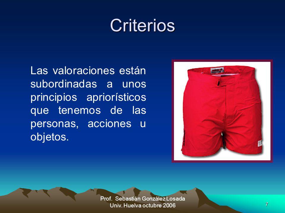7 Prof. Sebastián González Losada Univ. Huelva octubre 2006 Criterios Las valoraciones están subordinadas a unos principios apriorísticos que tenemos