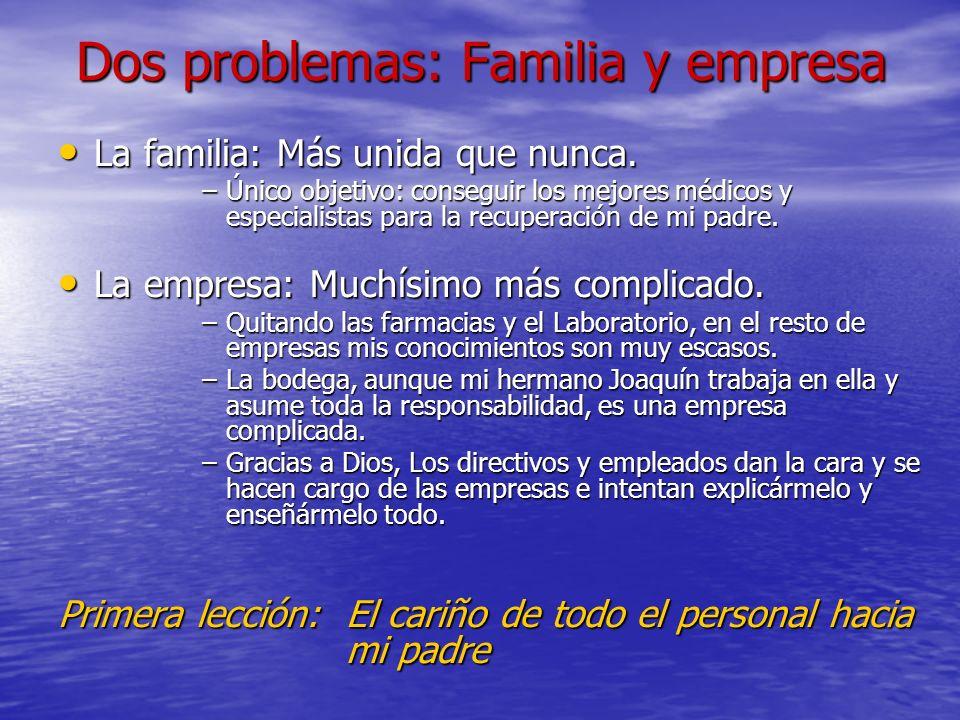 Dos problemas: Familia y empresa La familia: Más unida que nunca. La familia: Más unida que nunca. –Único objetivo: conseguir los mejores médicos y es