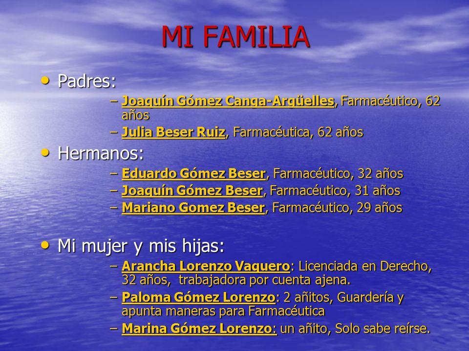 MI FAMILIA Padres: Padres: –Joaquín Gómez Canga-Argüelles, Farmacéutico, 62 años –Julia Beser Ruiz, Farmacéutica, 62 años Hermanos: Hermanos: –Eduardo