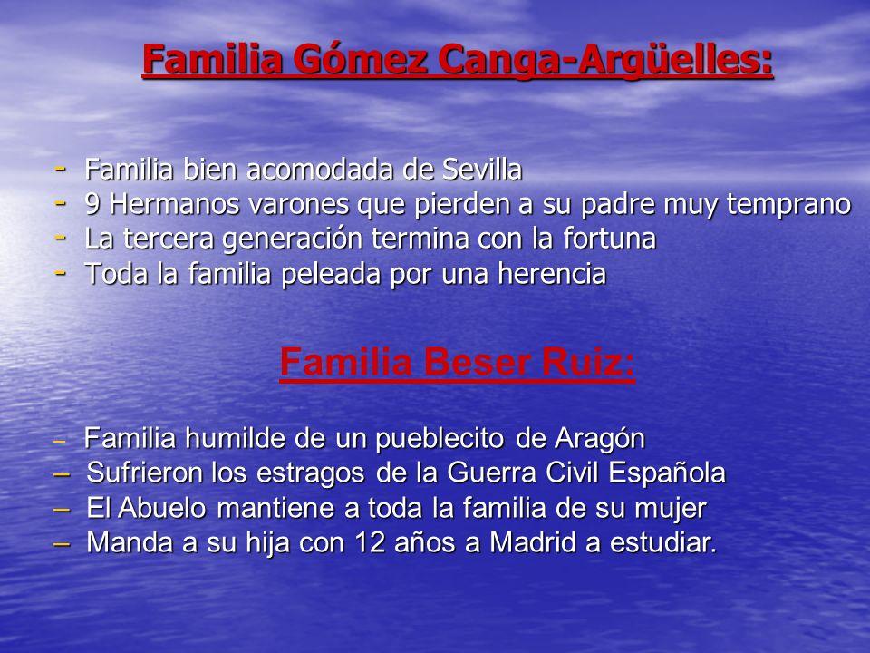 Familia Gómez Canga-Argüelles: - Familia bien acomodada de Sevilla - 9 Hermanos varones que pierden a su padre muy temprano - La tercera generación te