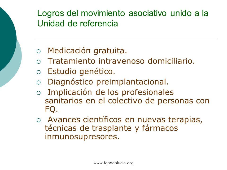 www.fqandalucia.org Logros del movimiento asociativo unido a la Unidad de referencia Medicación gratuita. Tratamiento intravenoso domiciliario. Estudi