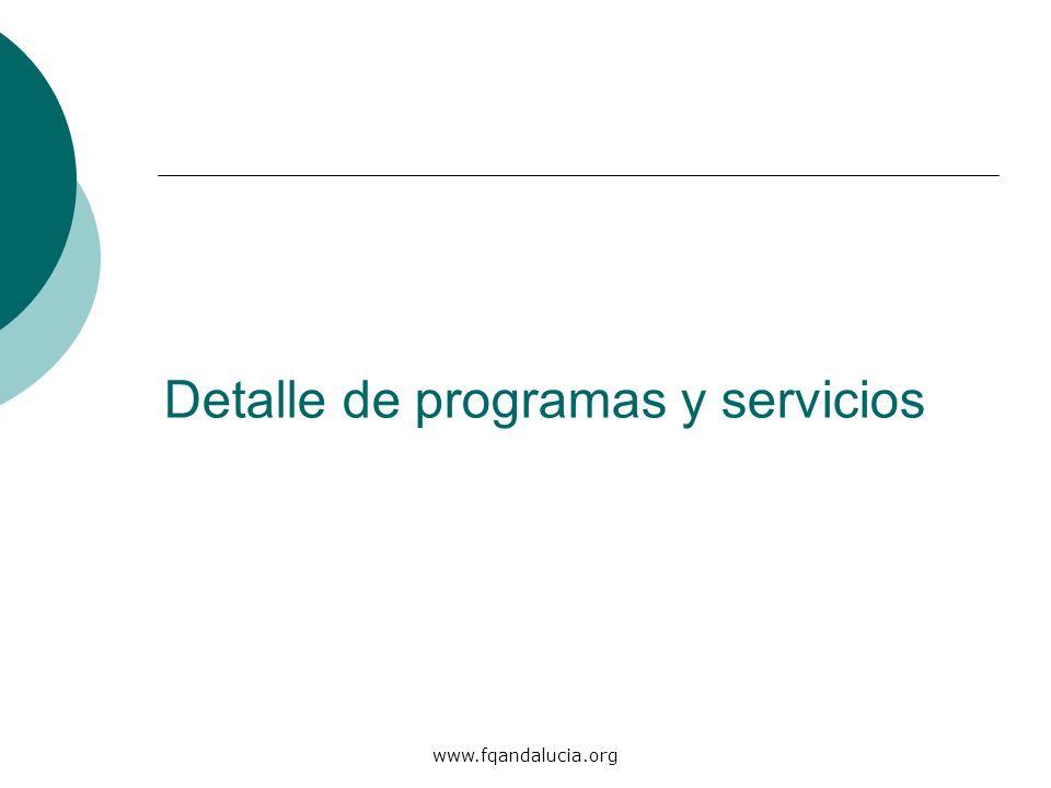 Detalle de programas y servicios