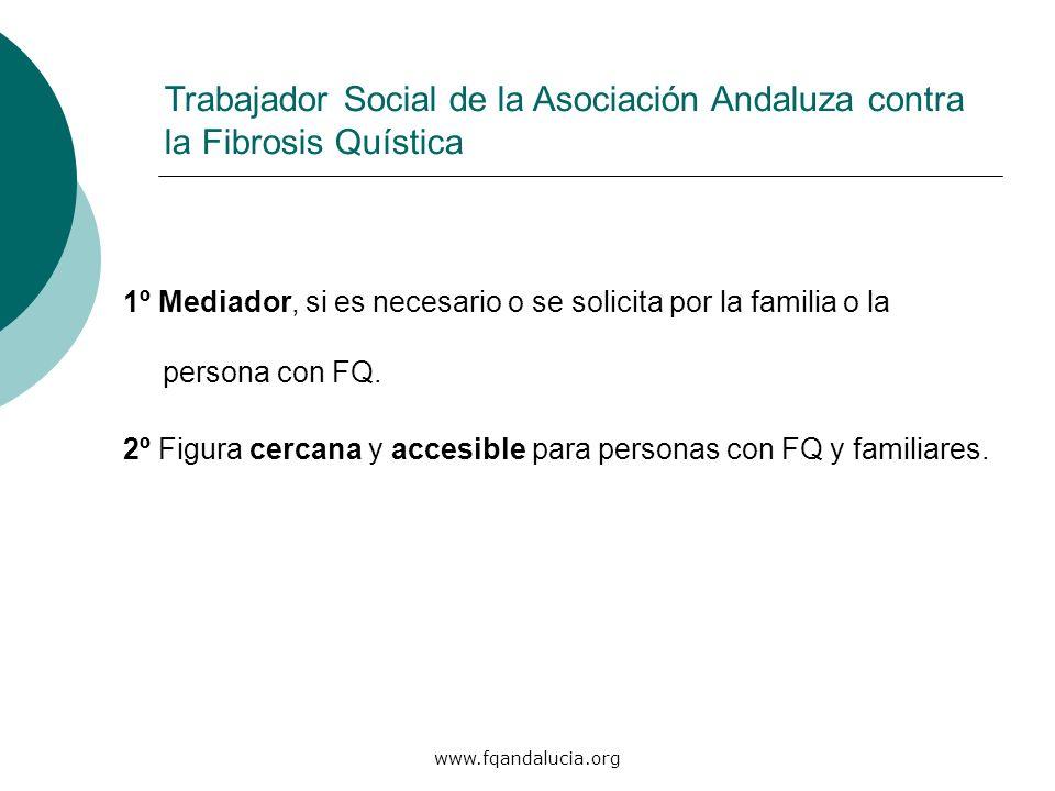 www.fqandalucia.org 1º Mediador, si es necesario o se solicita por la familia o la persona con FQ. 2º Figura cercana y accesible para personas con FQ