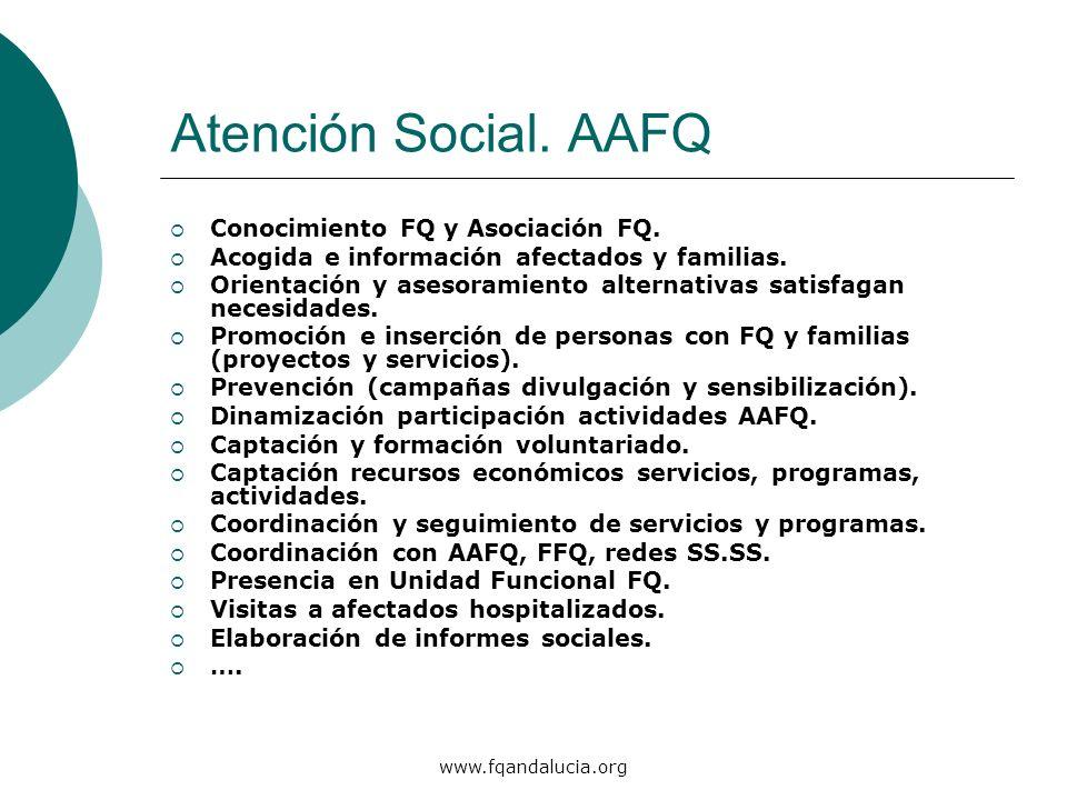www.fqandalucia.org Atención Social. AAFQ Conocimiento FQ y Asociación FQ. Acogida e información afectados y familias. Orientación y asesoramiento alt