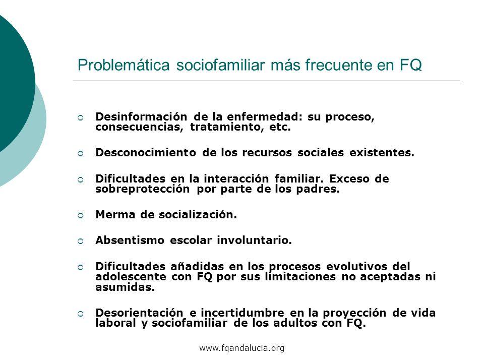 www.fqandalucia.org Problemática sociofamiliar más frecuente en FQ Desinformación de la enfermedad: su proceso, consecuencias, tratamiento, etc. Desco