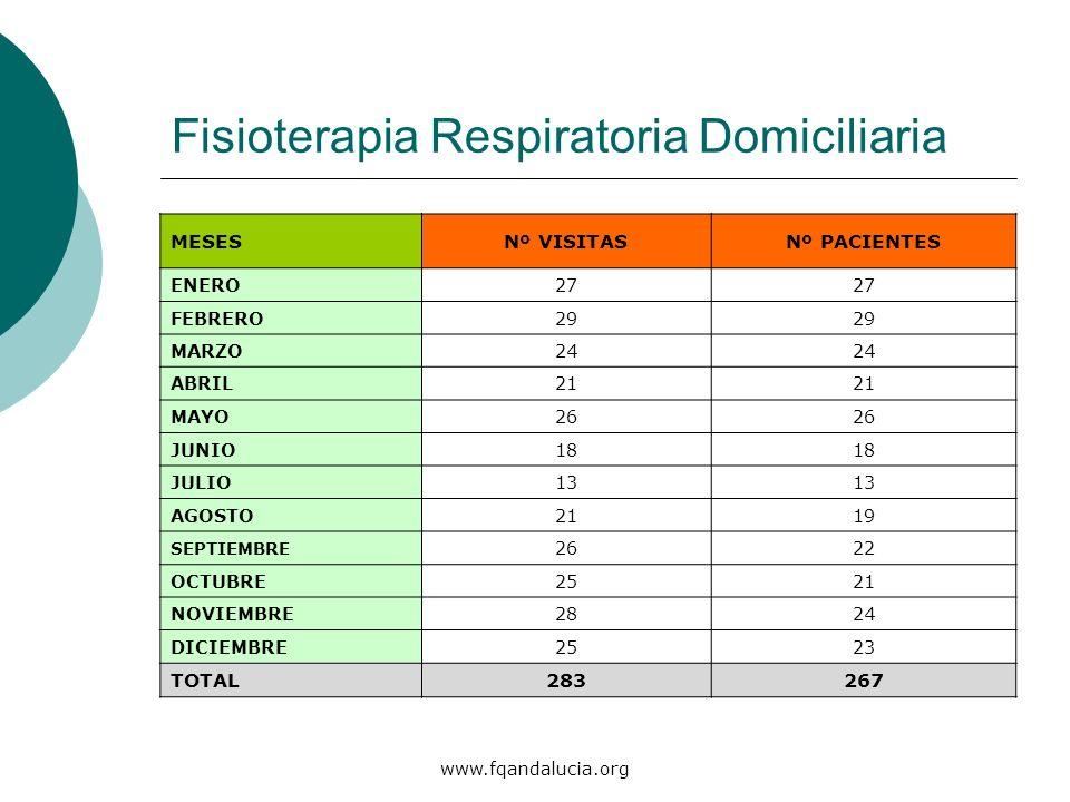 www.fqandalucia.org Fisioterapia Respiratoria Domiciliaria MESESNº VISITASNº PACIENTES ENERO27 FEBRERO29 MARZO24 ABRIL21 MAYO26 JUNIO18 JULIO13 AGOSTO