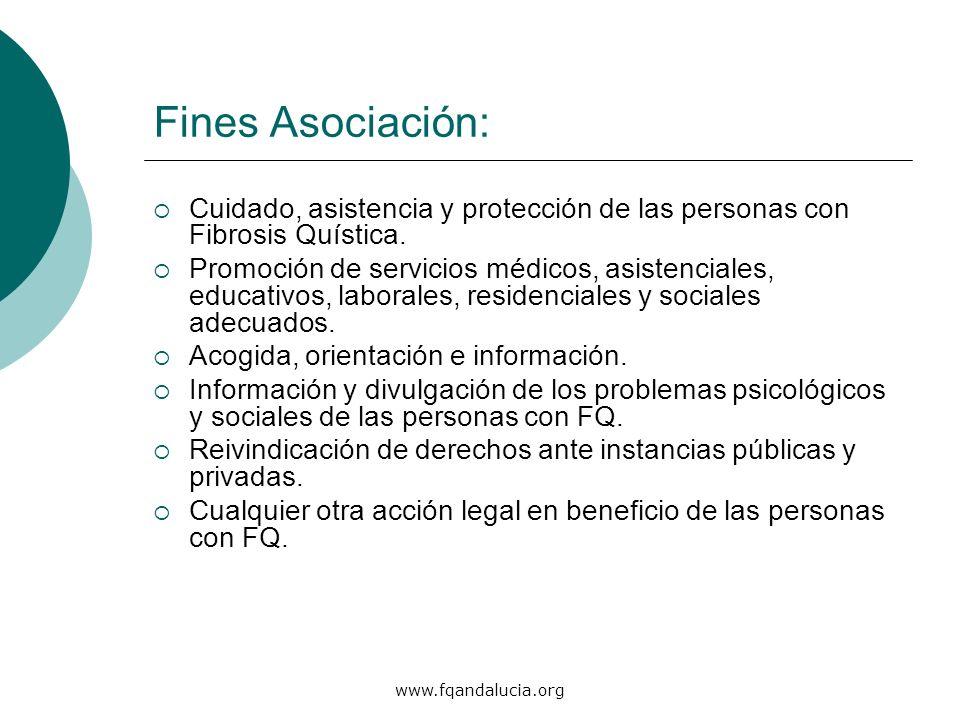 www.fqandalucia.org Fines Asociación: Cuidado, asistencia y protección de las personas con Fibrosis Quística. Promoción de servicios médicos, asistenc