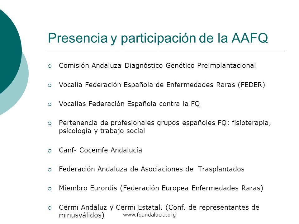 www.fqandalucia.org Presencia y participación de la AAFQ Comisión Andaluza Diagnóstico Genético Preimplantacional Vocalía Federación Española de Enfer