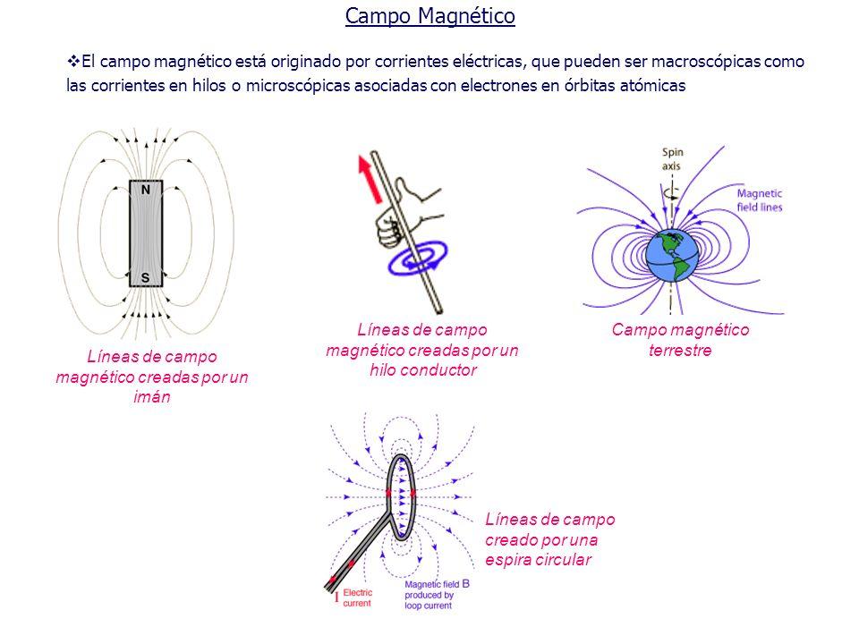 Campo Magnético Líneas de campo magnético creadas por un imán Campo magnético terrestre El campo magnético está originado por corrientes eléctricas, q