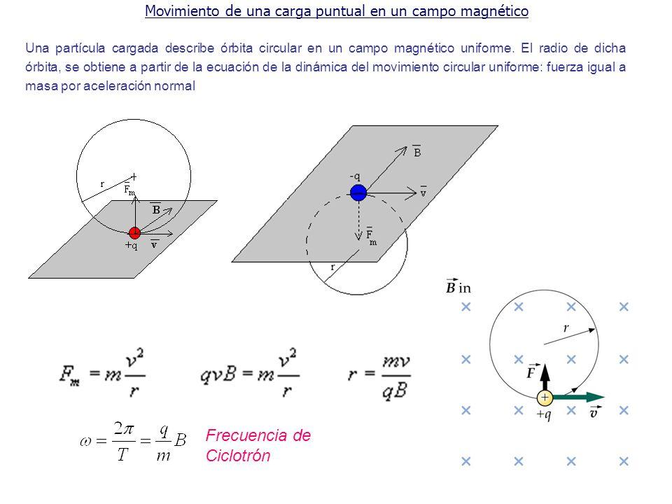 Movimiento de una carga puntual en un campo magnético Una partícula cargada describe órbita circular en un campo magnético uniforme. El radio de dicha
