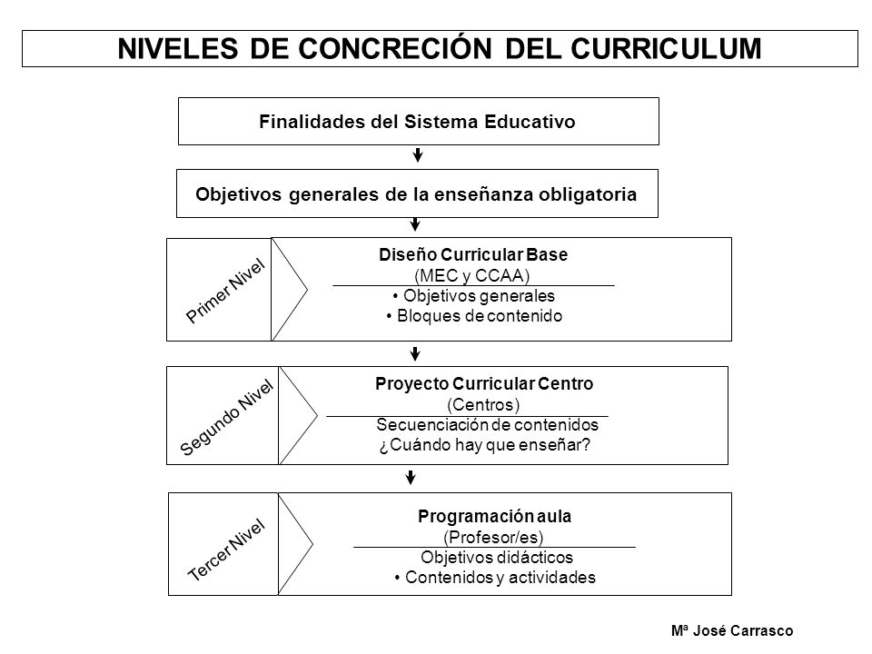 NIVELES DE CONCRECIÓN DEL CURRICULUM Finalidades del Sistema Educativo Objetivos generales de la enseñanza obligatoria Primer Nivel Diseño Curricular