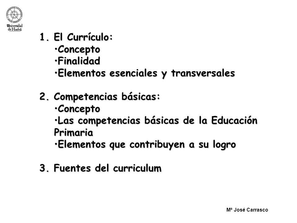 1. El Currículo: ConceptoConcepto FinalidadFinalidad Elementos esenciales y transversalesElementos esenciales y transversales 2. Competencias básicas: