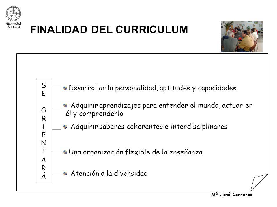 Mª José Carrasco FINALIDAD DEL CURRICULUM Adquirir aprendizajes para entender el mundo, actuar en él y comprenderlo Adquirir saberes coherentes e inte