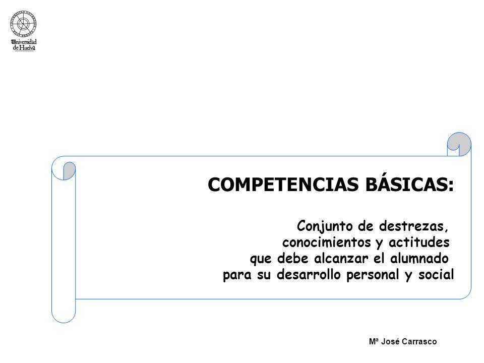 COMPETENCIAS BÁSICAS: Conjunto de destrezas, conocimientos y actitudes que debe alcanzar el alumnado para su desarrollo personal y social