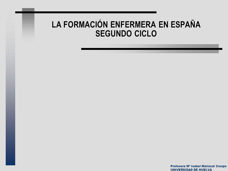 Profesora Mª Isabel Mariscal Crespo UNIVERSIDAD DE HUELVA LA FORMACIÓN ENFERMERA EN ESPAÑA SEGUNDO CICLO