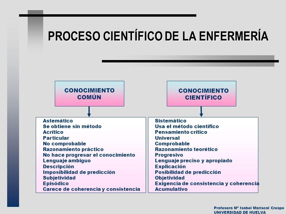Profesora Mª Isabel Mariscal Crespo UNIVERSIDAD DE HUELVA PROCESO CIENTÍFICO DE LA ENFERMERÍA CONOCIMIENTO COMÚN CONOCIMIENTO CIENTÍFICO Astemático Se