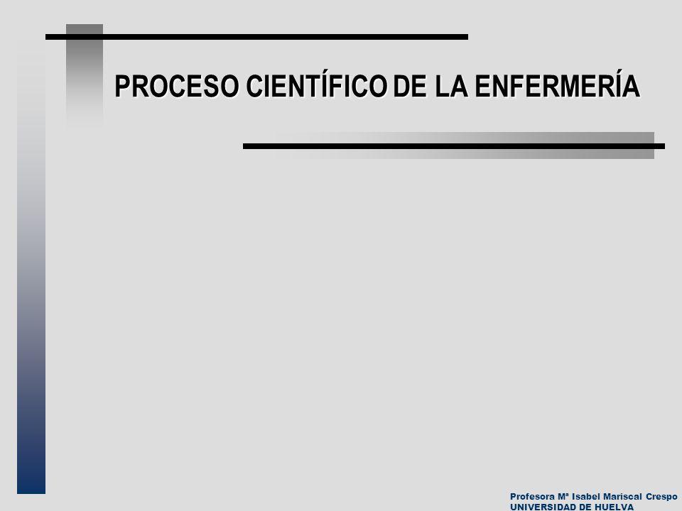 Profesora Mª Isabel Mariscal Crespo UNIVERSIDAD DE HUELVA PROCESO CIENTÍFICO DE LA ENFERMERÍA