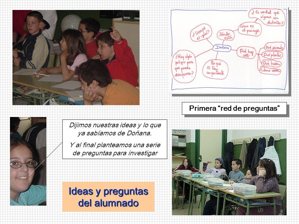Ideas y preguntas del alumnado Primera red de preguntas Dijimos nuestras ideas y lo que ya sabíamos de Doñana. Y al final planteamos una serie de preg