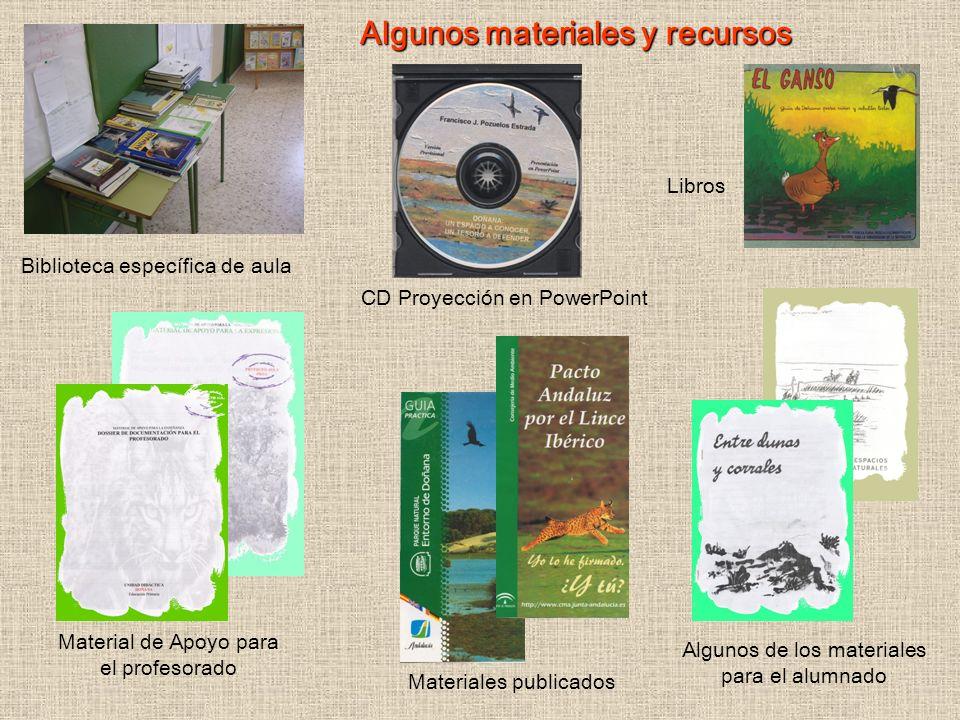 Algunos materiales y recursos Biblioteca específica de aula Material de Apoyo para el profesorado Materiales publicados Algunos de los materiales para