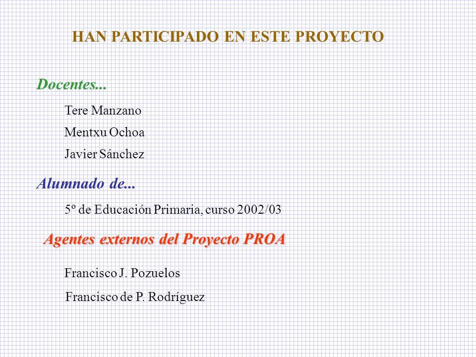 HAN PARTICIPADO EN ESTE PROYECTO Docentes... Tere Manzano Mentxu Ochoa Javier Sánchez Alumnado de... 5º de Educación Primaria, curso 2002/03 Agentes e