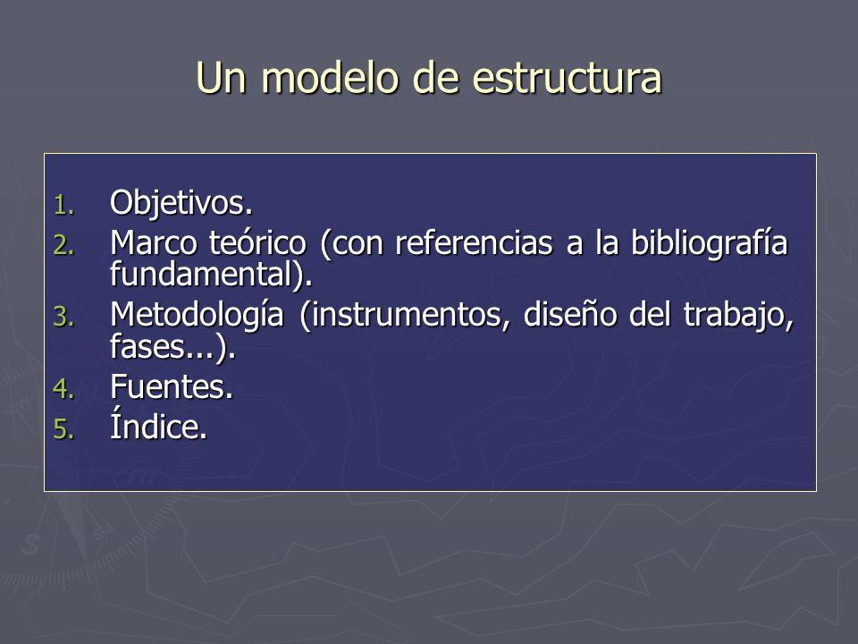 Un modelo de estructura 1. Objetivos. 2.