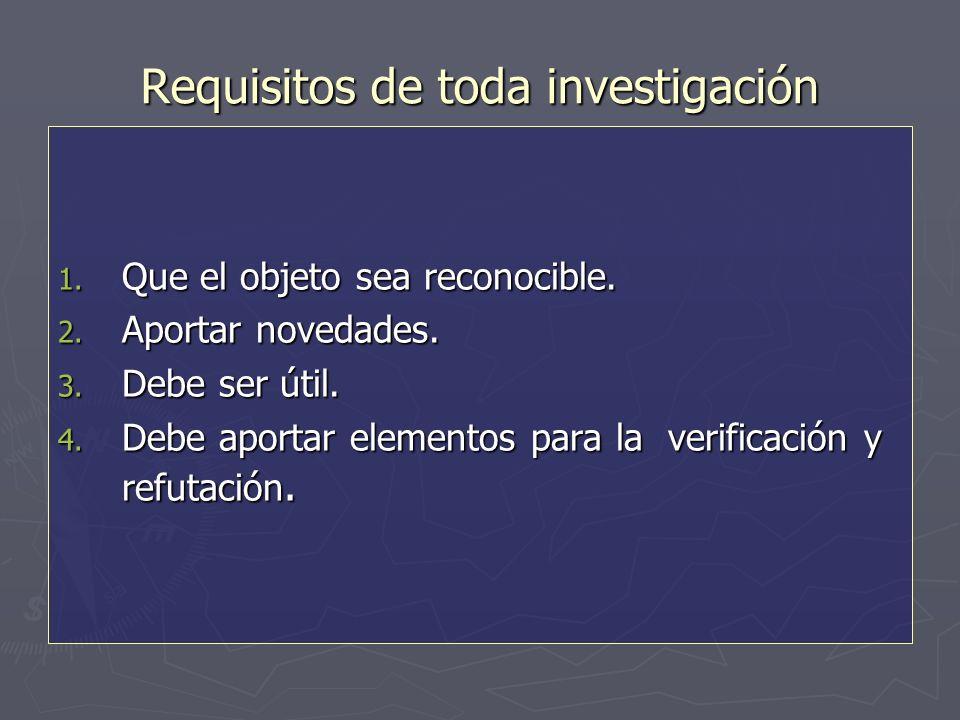 Requisitos de toda investigación 1. Que el objeto sea reconocible.