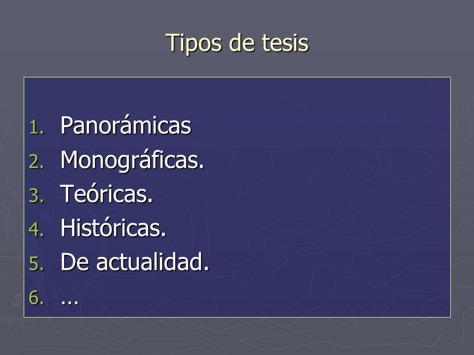 Tipos de tesis 1. Panorámicas 2. Monográficas. 3. Teóricas. 4. Históricas. 5. De actualidad. 6. …