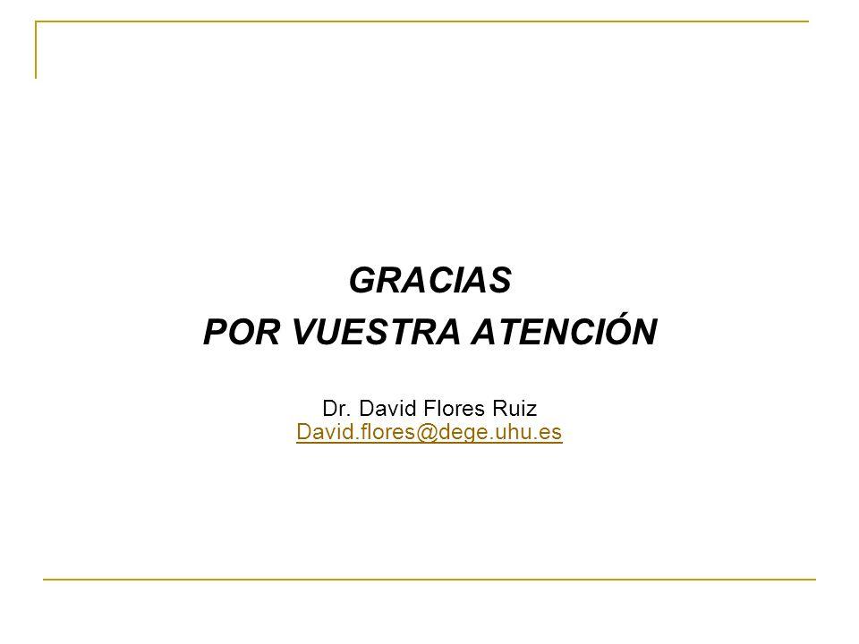 GRACIAS POR VUESTRA ATENCIÓN Dr. David Flores Ruiz David.flores@dege.uhu.es