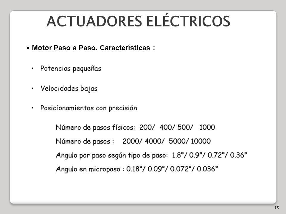 15 ACTUADORES ELÉCTRICOS Motor Paso a Paso. Características :