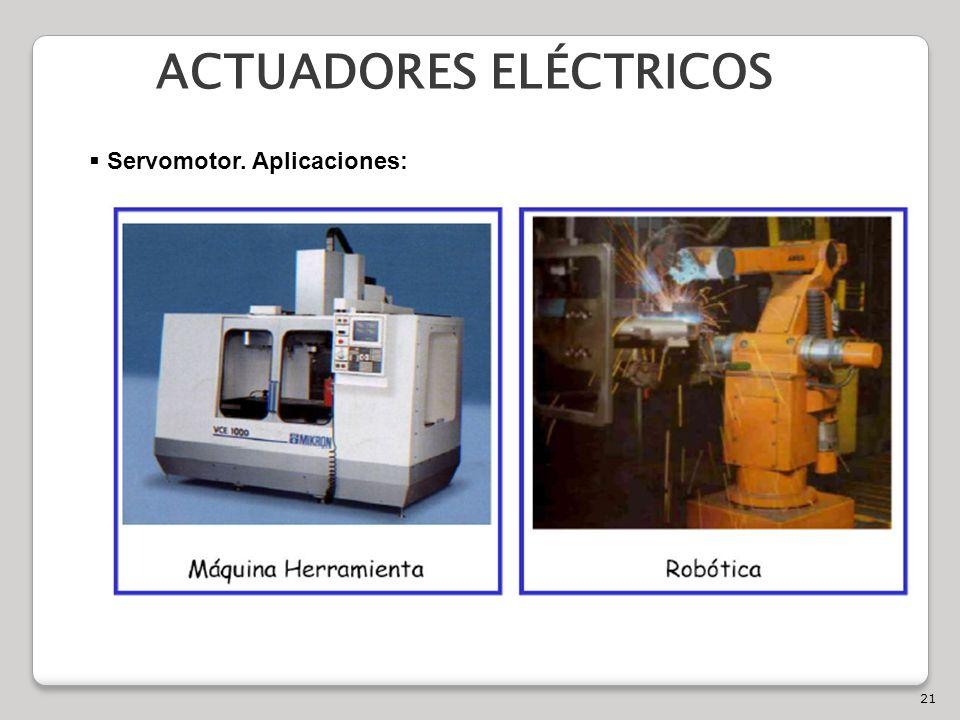21 ACTUADORES ELÉCTRICOS Servomotor. Aplicaciones: