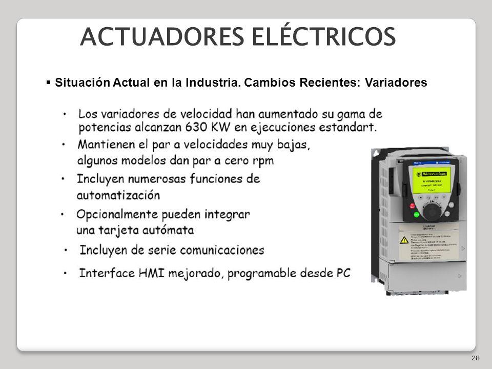 28 ACTUADORES ELÉCTRICOS Situación Actual en la Industria. Cambios Recientes: Variadores