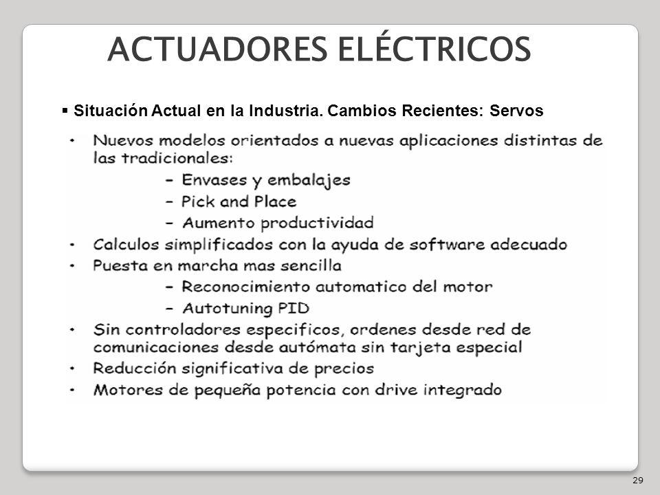 29 ACTUADORES ELÉCTRICOS Situación Actual en la Industria. Cambios Recientes: Servos