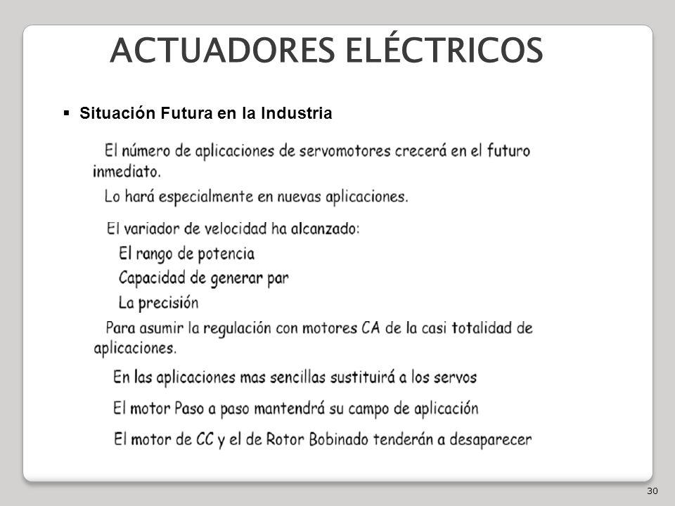 30 ACTUADORES ELÉCTRICOS Situación Futura en la Industria