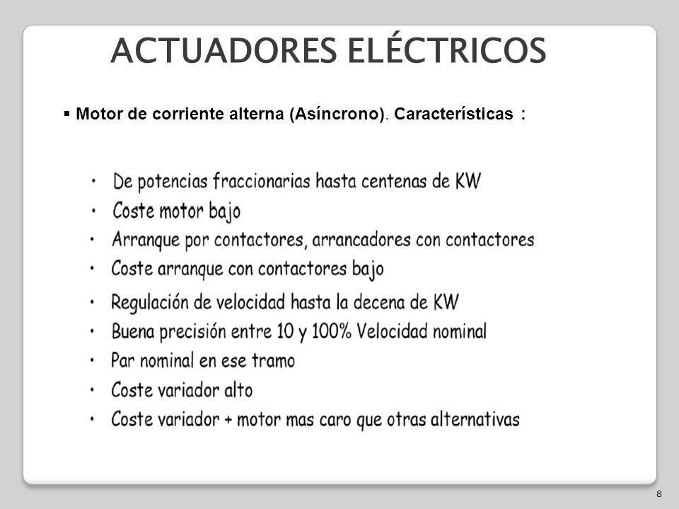 8 ACTUADORES ELÉCTRICOS Motor de corriente alterna (Asíncrono). Características :